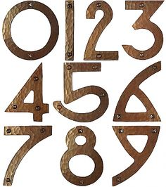 Your choice of Pyramid-Head Nails, or Round Head Screws. In the photo, nails are shown on the and Copper House, Pyramid Head, Alphabet City, Address Numbers, Patina Finish, House Numbers, Curb Appeal, Wood Projects, Craftsman