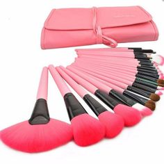 "24pcs Cute makeup brush cosmetic set - pink Use code: ""cherry blossom"" get 10% OFF when you shop at (www.sanrense.com)"