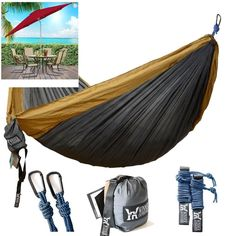 "Winner Outfitters Double Camping Hammock Lightweight Nylon Portable118""L X 78""W  #WINNEROUTFITTERS"
