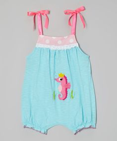 Look at this #zulilyfind! Aqua Royal Seahorse Bubble Romper - Infant & Toddler by Victoria Kids #zulilyfinds