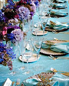 purple and aqua table settings | ... 25, 2013 at 660 × 825 in Purple and turquoise wedding inspiration