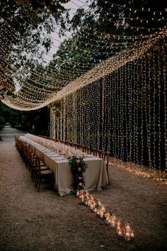 Wedding Hanging Decoration Ideas to Love - EmmaLovesWeddings romantic wedding reception ideas with hanging string lights Always aspired to disco. Wedding Reception Ideas, Romantic Wedding Receptions, Outdoor Wedding Decorations, Wedding Ceremony, Rustic Wedding, Outdoor Decor, Autumn Wedding, Outdoor Ideas, Diy Wedding