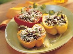 Grilled Black Bean- and Rice-Stuffed Peppers - Grill a veggie bean fiesta and have it on the table in 30 minutes.