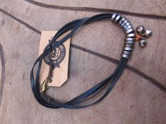 Vegan - Hand Cut Bicycle Inner Tube Lace & Bell Anklet / Bracelet with Chain Link Beads