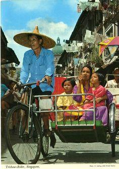 John Hinde postcard. Trishaw rider Singapore