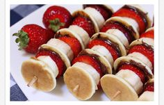 Strawberry+Pancakes+Bananas skewers! What a great breakfast treat!