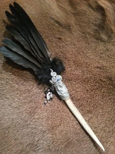 Morgan Le Fay, Crow and Deer Antler Smudge Fan