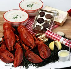 Romantic Rockport Romance lobster dinner at home: 1/2 pound live Maine lobsters, clam chowder, handmade chocolates for Valentines Day, Anniversary, Mothers Day [Lobster Recipes, Lobster, Fresh Seafood, Lobster Tail] https://lobsteranywhere.com Live Maine lobster delivery direct from LobsterAnywhere. New England's mail order premium seafood company online since 1999 with ocean fresh and frozen lobster for your business or special event. Guaranteed USA overnight shipping. #Lobster #Recipe…