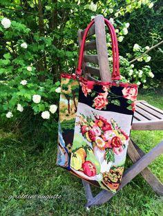 tote made from vintage needlepoint