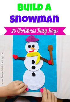 Do you wanna build a snowman. Snowman crafts for kids are perfect this time of year! There are so many ideas we could use to make cute snowmen but below are 10 of our favorite snowman crafts for kids that are sure to make winter so much more fun! Felt Snowman, Snowman Crafts, Christmas Snowman, Kids Christmas, Felt Crafts, Snow Activities, Christmas Activities, Preschool Activities, Felt Busy Bag
