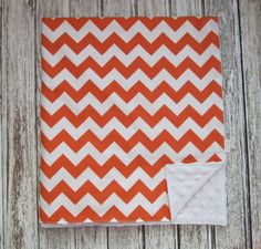 Orange Chevron Baby Blanket for Baby Girl or Baby Boy, Riley Blake Chevron 9 Colors Available, Modern Baby Design