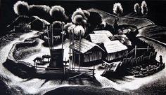 Lynd Ward American Corral: Tres Cumbres 7 x in. Very Grant Wood.