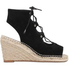 KG BY KURT GEIGER 80mm Marine Suede Lace-Up Wedge Sandals (230 CAD) ❤ liked on Polyvore featuring shoes, sandals, black, suede shoes, black suede sandals, open toe sandals, wedges shoes and black suede shoes