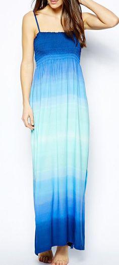 Blue Bandeau Maxi Beach Dress