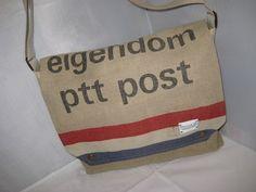 PTTpostzakken tas  met blauw wit  ruitje gevoerd .  door Jesbags