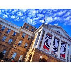 Bucky Badger and Bascom Hall UW Madison University of Wisconsin.   Photo cred:  minimad_uw on Instagram.