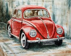 1960 Volkswagen Beetle 2 Painting by Joey Agbayani