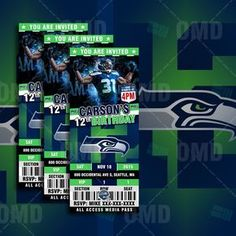 "Seattle Seahawks Sports Party Invitation 2.5x6"" Sports Tickets Invites, Football Birthday Theme Party Template by sportsinvites"