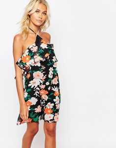 Image 1 of Fashion Union Halter Neck Frill Dress In Floral Print