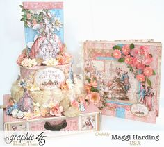 Cake and mini album from Graphic 45's Gilded Lily collection by Maggi Harding