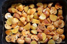 Cartofi noi la cuptor cu ciuperci si usturoi | Savori Urbane Dr Post, Romanian Food, Vegetable Recipes, Food And Drink, Potatoes, Vegetables, Cooking, Diet, Kitchen