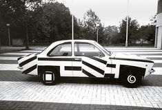 Fiat Strada painted in dazzle design by Patricia van Lubeck, 1990