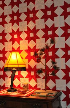 Fun with Barb, really classic red and white quilt with a Charlie Brown Christmas tree for decorating.