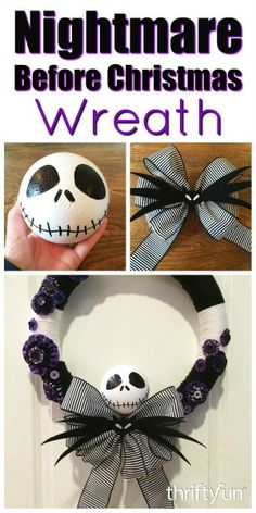 This is a guide about making a Nightmare Before Christmas yarn wreath. For the fans of this popular movie, you can make a Halloween wreath using decorative elements from the film. king Making a Nightmare Before Christmas Yarn Wreath Nightmare Before Christmas Decorations, Nightmare Before Christmas Halloween, Fete Halloween, Halloween Christmas, Diy Halloween Decorations, Halloween Crafts, Holiday Crafts, Holiday Fun, Diy Halloween Yarn Wreath