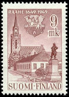 Raahe postage stamp, Northern Ostrobothnia province of Finland.- Pohjois-Pohjanmaa