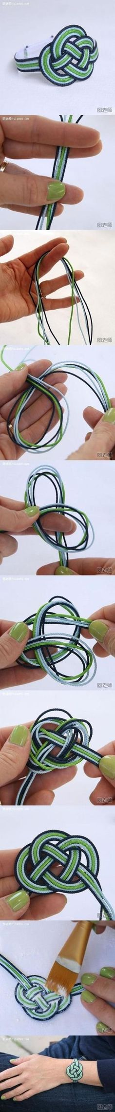 How to make love bracelet step by step DIY instructions / How To Instructions: by crazy sheep