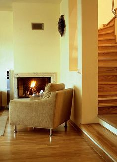 Photo about Living room with the fireplace. Image of stairs, fireplace, warm - 3330817 Interior Photo, Living Room Interior, Photo Editing, Stairs, Sofa, Warm, Stock Photos, Infographic Templates, Image