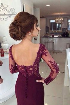 Burgundy Mermaid Chiffon Prom Dress Lace Long Sleeves with Button