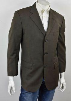 8d13d687d60ae0 BROOKS BROTHERS Dark Brown All-Season Wool Pick Stitch 3-Btn Suit Jacket 42S