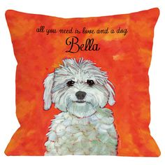 Personalized pillow in orange with a Maltese portrait and typographic detailing. Made in the USA.       Product: PillowCon...