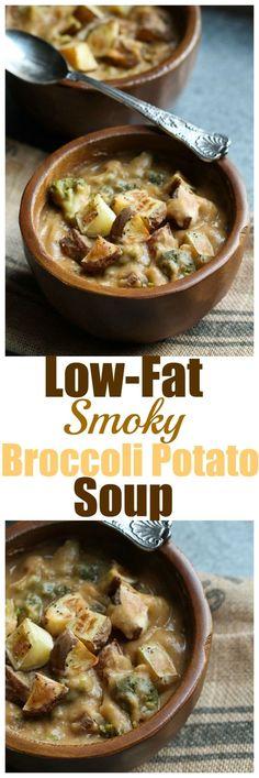 Low-Fat Smoky Broccoli Potato Soup. Vegan dairy-free gluten-free oil-free…