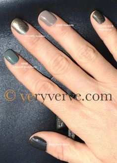 veryverve: Grey comparison swatches: Chanel Graphite, Essie School of Hard Rocks, Essie Chinchilly, Color Club Revvvolution. Dupe?