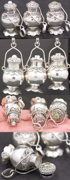 Pendants and Lockets 45079: Handmade 3X Sterling Silver .925 Lantern Style Urn/Perfume Pendants W Gemstone. BUY IT NOW ONLY: $60.8