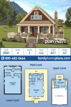 House Plan 74871 - Bungalow, Cottage, Craftsman Style House Plan with 2880 Sq Ft, 4 Bed, 3 Bath Basement House Plans, House Floor Plans, Craftsman Style House Plans, Craftsman Houses, Craftsman Interior, 1000 Sq Ft House, Model House Plan, Wrap Around Deck, House Blueprints