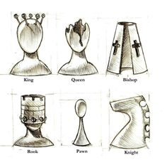 Surreal chess piece designs.