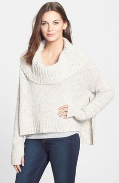 Eileen Fisher Drapey Neck Crop Cashmere Blend Sweater (Regular & Petite) at Nordstrom.com. A luxurious blend of cashmere, silk and merino wool brings an ultrasoft hand to a swingy cropped sweater styled with a shoulder-spanning cowl neck. Thumbhole cuffs lend sporty appeal, while deep side slits further the flowing design.