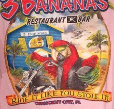 Tshirt Parrot On Motorcycle Tiki Bar Float Plane Sz XL Three Bananas Pink #MotorcycleParadise #TropicalTikiBiker