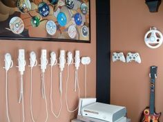 Game Controller Wall Clip - Xbox 360 Wii PlayStation Storage and Organizer - 4 Pack, White via Etsy (Game room) Wall Clips, Game Storage, Storage Ideas, Game Controller, Gaming Setup, Entertainment Room, Room Organization, Organization Station, Wall Hooks