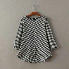Handkerchief Gingham Shirt by Blouse Patterns, Blouse Designs, I Dress, Baby Dress, Blouse Batik, Gingham Shirt, Short Tops, Couture, Indian Designer Wear