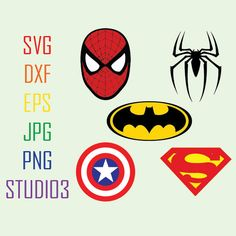 Spiderman Batman Superman Captain America Hero Super Hero SVG Files,Svg,Dxf,Eps,Studio 3,Png,Jpg,Silhouette Studio,Cricut Files,Cameo,Cutting Files  *** Instant Download ***   WHAT YOULL GET:  ♥ EPS ♥ SVG ♥ DXF ♥ PNG ♥ JPG ♥ STUDIO 3 ==========================================================================================   PLEASE CHECK WITH YOUR MACHINE'S ABILITY TO USE THESE FORMATS. For Silhouette Cameo, you must have the Designer Edition to use the SVG file. If you do not have it, you…