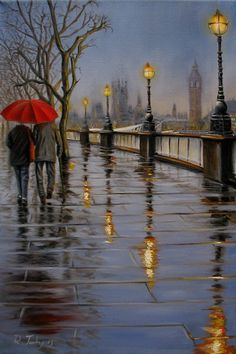 Raouf Salim Janibekov - a modern Azerbaijani artist, born in Baku. Pictures To Paint, Nature Pictures, Rain Painting, Rain Art, Umbrella Art, Cityscape Art, Abstract Painters, Landscape Drawings, Beautiful Paintings