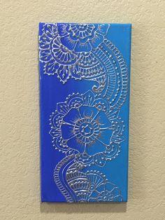 2 Shade of Blue flower Mehndi Style Painting Henna by GonzSquared #henna #mehndi #mixedmedia #hennapainting #mehndipainting #hennadesign #mehndidesign