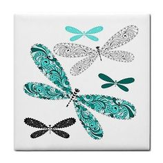 Dragonfly Butterfly Home Feature Decor Ceramic Wall Tile Coaster Mosaic Craft