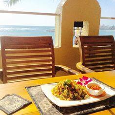 Delicious Bali Food in Depot Island Okinawa Great View. Bintang Terrace: 〒904-0115 沖縄県Nakagami-gun, 中頭郡北谷町Mihama, 美浜9-21 デポアイランドシーサイドビル2F Okinawa, Travel Guides, Places To See, Great Recipes, Things To Do, The Incredibles, Japan, Things To Make, Japanese