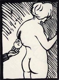 Un enfant dans le dos - 1978 linogravure - 35 x 40 cm Réf . : top056