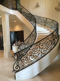 Iron Work by NW Ironworks, wrought iron, ornamental iron. Luxury Staircase, Staircase Railings, Stairs, Painted Staircases, Wrought Iron Stair Railing, Wrought Iron Fences, Aluminum Railings, Iron Railings, Aluminum Gates
